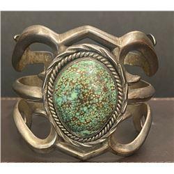 1950's Spiderweb Turquoise Bracelet Sandcast