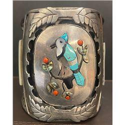 J. Quan, Zuni 1960's Blue Jay Large Bracelet