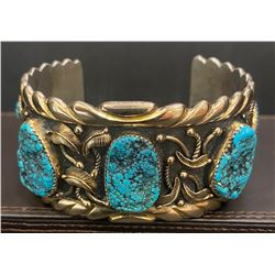 Gold Overlay Bracelet with 5 Turquoise stones by Andy Lee Kirk Isleta and Navajo Artist