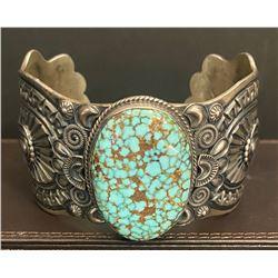 Delbert Gordon, Navajo Spiderweb Turquoise Bracelet