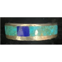 Al Nez, Navajo Inlay ring with fine turquoise and lapis 1980's