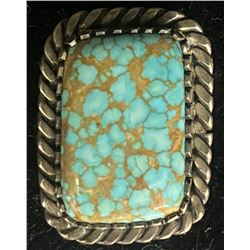 Spiderweb #8 Turquoise Ring by H. Mace, Navajo