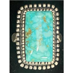 Gloria Begay, Navajo Spiderweb #8 Turquoise Ring