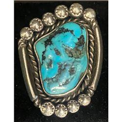 Kingman Ring by Jessie Thompson, Navajo  JT hallmark