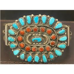1990's Coral and Turquoise Cluster Bracelet