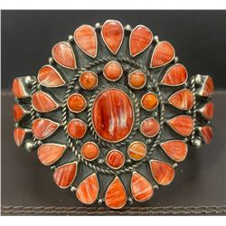 Orange Spiny Oyster Shell Cluster Heavy Bracelet Cuff by Darrel Brown, Choctaw