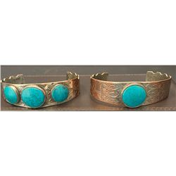 Two Silver over Copper Bracelets with Turquoise Stones