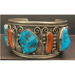 William Singer Coral and Kingman Turquoise Bracelet