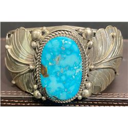 #8 Turquoise Bracelet with Silver Leaves by Glenda Lee