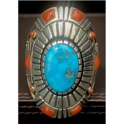 Beautiful Turquoise and Coral Ring by Navajo Jeweler Michael Perry