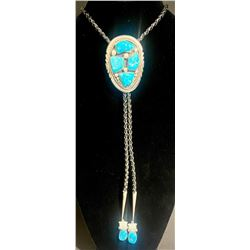 Turquoise Cluster Bolo by Zuni Artists Robert and Bernice Leekya