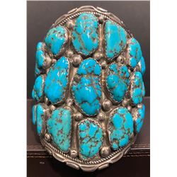 Massive 27 stone Morence Turquoise Nugget Bracelet by Richard & Mary Thomas Navajo Artists