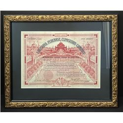 Rare 1903 Capital Stock Certificate for the Louisiana Purchase Exposition Celebration