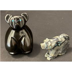 Two Zuni Fetish Bear Carvings
