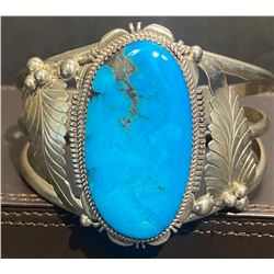 Bright Blue Turquoise with Brown Matrix Bracelet  CJ Hallmark