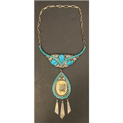 Choker Style Scrimshaw and Turquoise Necklace by C. Manning Navajo Artist