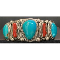 Battle Mountain Turquoise and Coral Bracelet by Gilbert Lee
