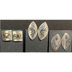 Tommy Singer, Navajo Artist 3 pair Clip Earrings
