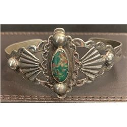 1940's Harvey style Bracelet Dark green turquoise stone