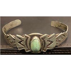 1940's Harvey Style Light Green Turquoise Cabochon Bracelet