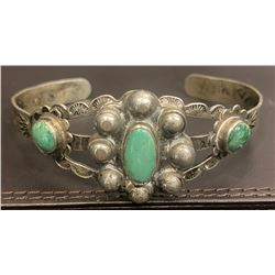 1940's Harvey Style 3 turquoise stone bracelet