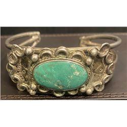 1940's Harvey Style Large Green Turquoise Bracelet