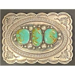 3 Royston Cabochon and Silver Belt Buckle by Albert Cleveland, Navajo Artist