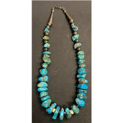 """1940's Kingman Nugget Necklace 33 raw pieces 18"""" long"""