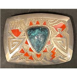 An Amazing Michael Perry Buckle using Lone Mountain Turquoise and Coral