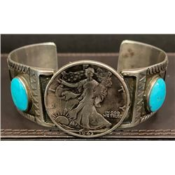 1950's Bracelet using a 1943 Liberty Half Dollar and Sleeping Beauty Turquoise