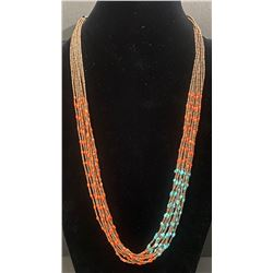 Santo Domingo Necklace using coral and turquoise Heishi beads
