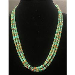 3 Strand Silver, Turquoise, Spiny Oyster and Sugilite Necklace by Keith Agular.