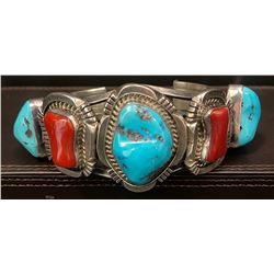 Heavy Bracelet using Coral and Sleeping Beauty Stone!