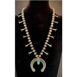 1930's Squash Blossom Necklace with Bisbee Turquoise