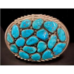 Belt Buckle signed JP with 18 Kingman Turquoise Stones