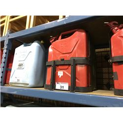 RED METAL 20L JERRYCANS WITH SINGLE CAN MOUNT & GREEN PLASTIC 20L JERRYCAN