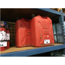 3 RED PLASTIC 20L JERRYCANS