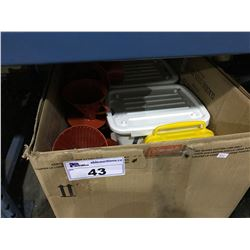 BOX OF ASSORTED CAMPING PLASTIC ITEMS & BIN OF LINENS