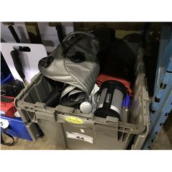 BIN OF ASSORTED CAMPING ITEMS, LANTERNS, SHOWER BAGS & CUTLERY