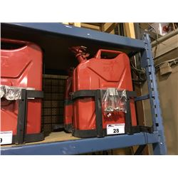2 RED METAL 20L JERRYCANS WITH SINGLE CAN MOUNT