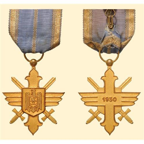 Medal - ROMANIA - Golden Cross with swords, first model, for