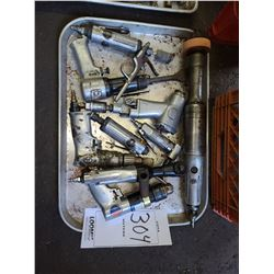 Miscellaneous tray of air tools, dremels , ratchets