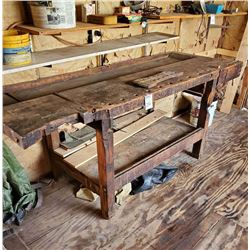 EARLY ANTIQUE WOOD WORK BENCH W/ WOOD VICE: AKA LOT 236