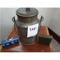 "Antique Cream Can, Military Ammo Tin, Vintage ""Ford Tough"" Toy - AKA LOT 144"