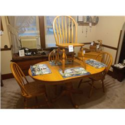 LIKE NEW SOLID OAK AMISH MADE KITCHEN SET W/ WIDE BOARD, AND 4 ARROW BACK CHAIRS