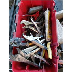 Tool box with pliers and wrenches