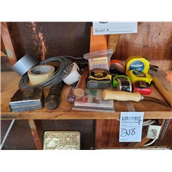 LOT OF ASSORTED TAPE MEASURES, HAMMERS, TAPE, ETC.