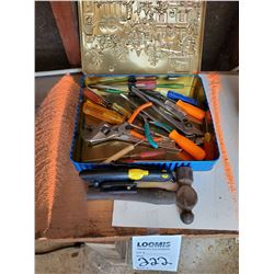 LOT OF ASSORTED HAND TOOLS IN TIN CASE