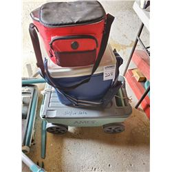 SMALL CART, ICE COOLER, CANVAS LUNCH COOLER BAG