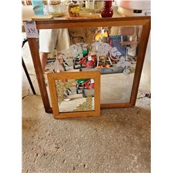 PAIR OF WOOD FRAMED WALL MIRRORS
